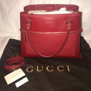 BNWT Gucci Monogram Leather Dark Red Tote Bag